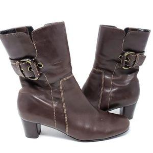 ECCO Women's Brown Buckle Heeled Boots 36